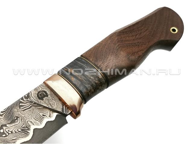 "Нож ""НЛВ27"" ламинат 9ХС, рукоять дерево орех, мокумэ-гане (Кузница Васильева)"