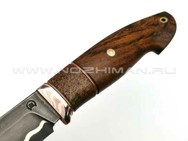 """Нож """"НЛВ18"""" ламинат S390, рукоять айронвуд, позвонок кита, мокумэ-гане (Кузница Васильева)"""
