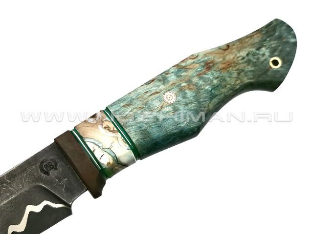 """Нож """"НЛВ15"""" ламинат S390, рукоять карельская береза, зуб мамонта, бронза (Кузница Васильева)"""