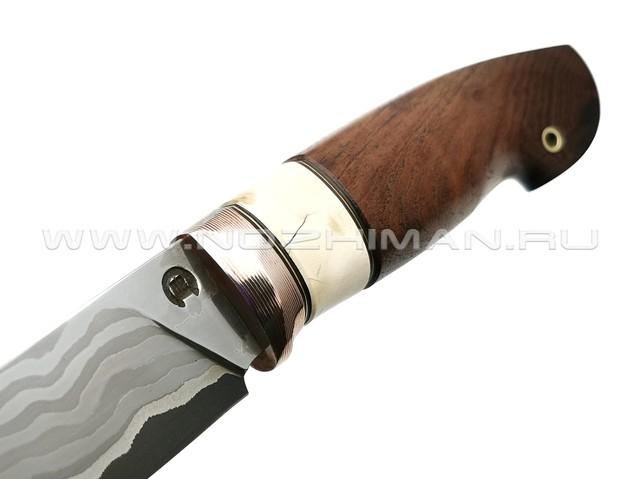 """Нож """"НЛВ20"""" ламинат K340 рукоять дерево орех, бивень мамонта, мокумэ-гане (Кузница Васильева)"""