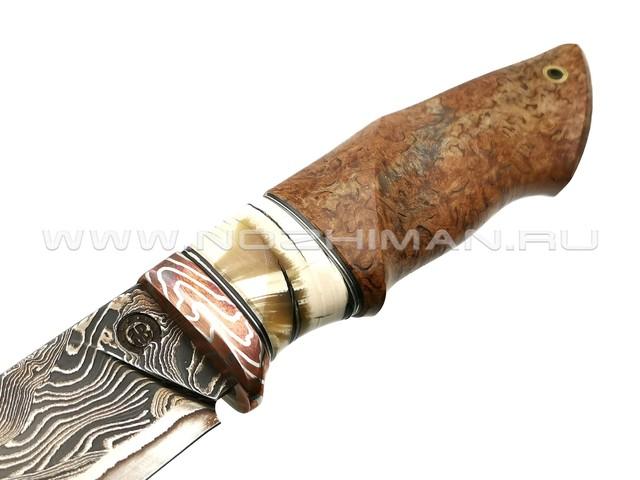 """Нож """"НЛВ24"""" ламинат 9ХС, рукоять карельская береза, бивень мамонта, мокумэ-гане (Кузница Васильева)"""