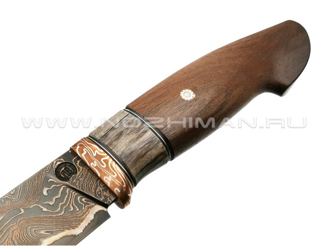 "Нож ""НЛВ17"" ламинат 9ХС, рукоять палисандр, мокумэ-гане (Кузница Васильева)"