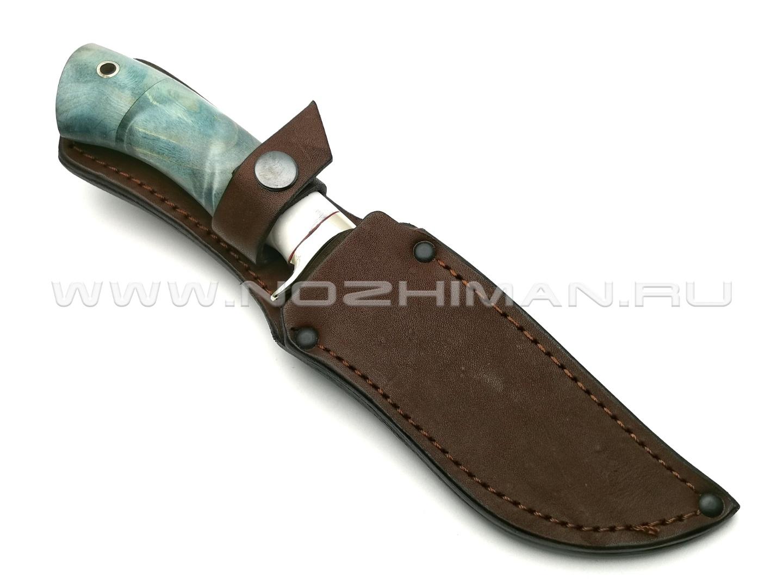 Нож Ирбис сталь CPM S90V, рукоять кап клёна, мельхиор (Фурсач А. А.)