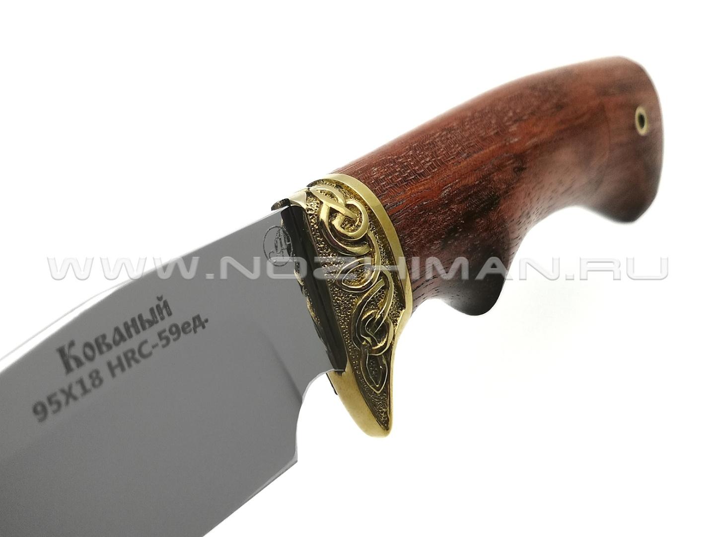 Нож Рыбак сталь 95Х18, рукоять дерево падук, латунь (Фурсач А. А.)
