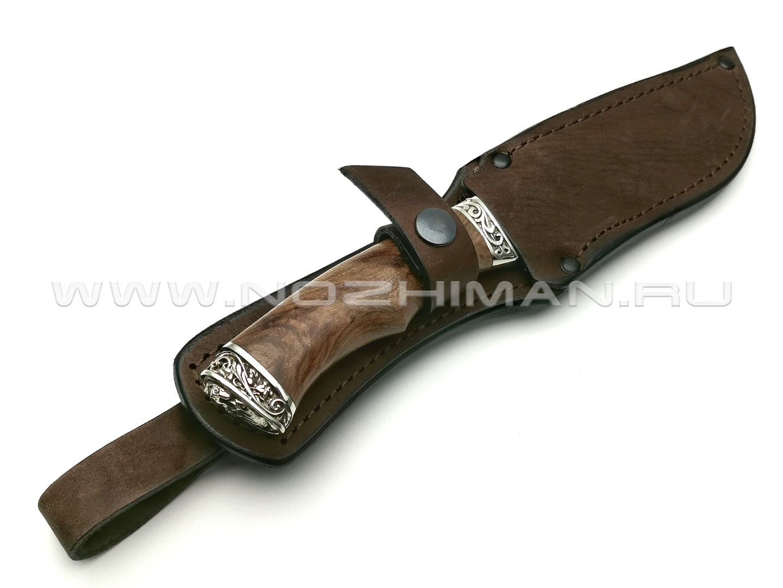 Нож Клык сталь 95Х18, рукоять дерево орех, мельхиор (Фурсач А. А.)