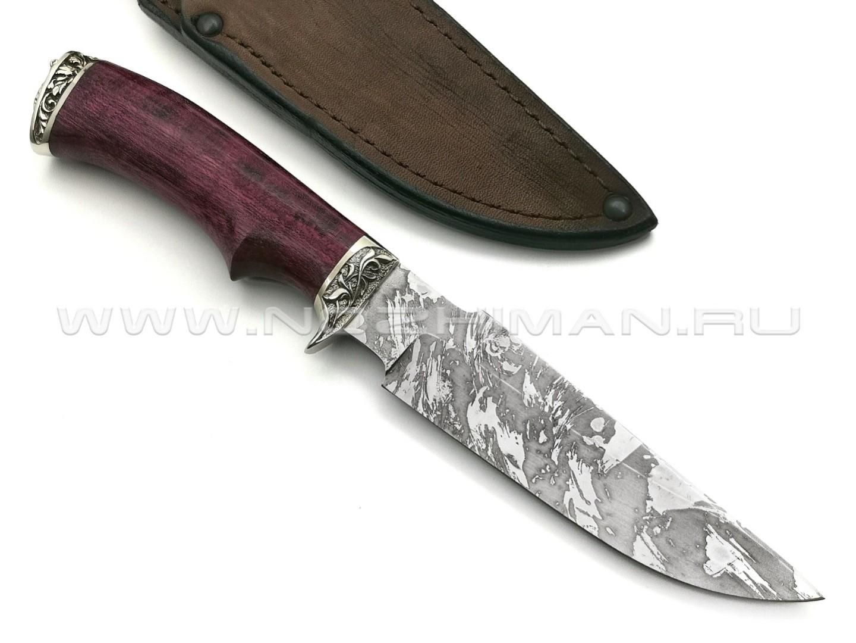 Нож Ирбис-М сталь Х12МФ, рукоять дерево амарант, мельхиор (Фурсач А. А.)
