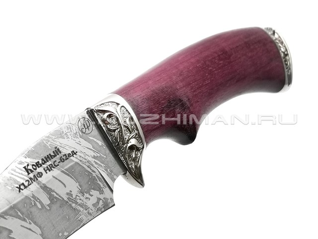 Нож Рыбак-М сталь Х12МФ, рукоять амарант, мельхиор (Фурсач А. А.)