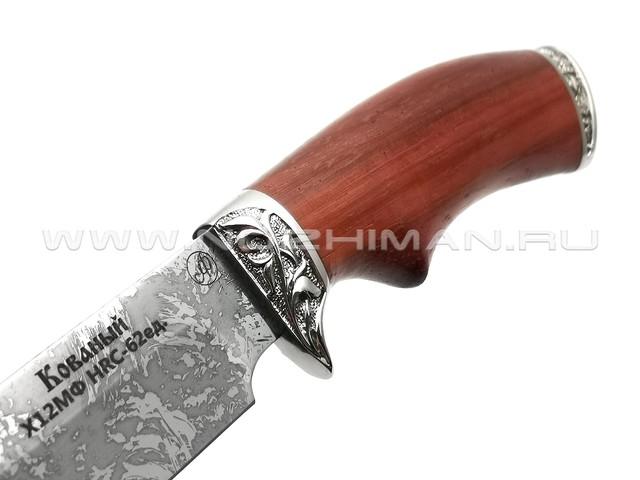 Нож Газель-М сталь Х12МФ, рукоять падук, мельхиор (Фурсач А. А.)