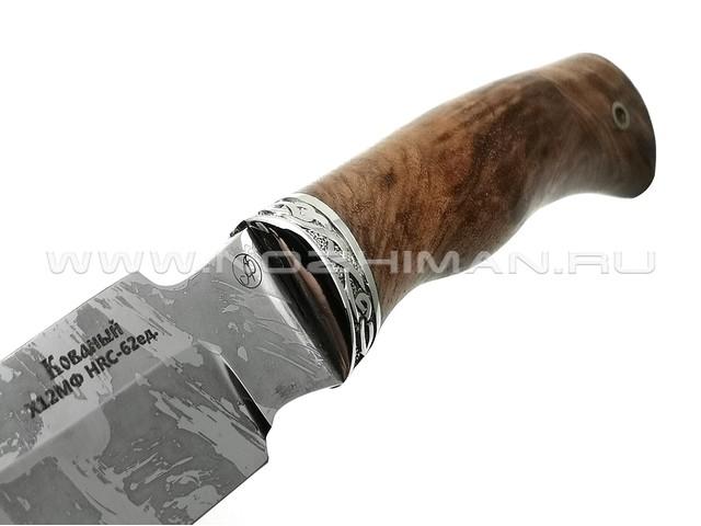 Нож Рысь сталь Х12МФ, рукоять орех, мельхиор (Фурсач А. А.)