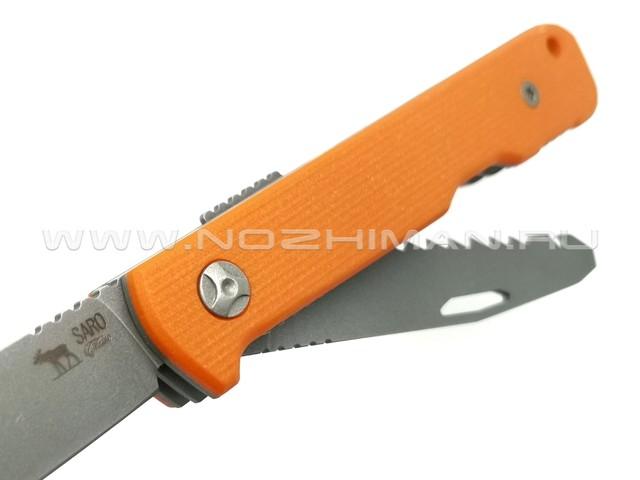 Saro нож Авиационный NEXT сталь Aus-6, рукоять G10 orange