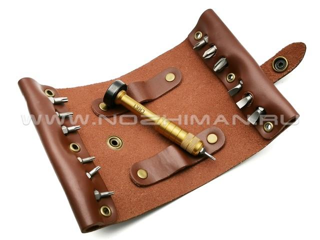 Набор бит с отверткой CRKT Hex Bit Driver Leather Tool Roll 9911