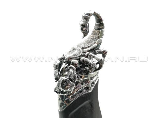 """Композиция """"Скорпион"""" нож из дамасской стали, рукоять дерево эбен, бронза, серебро (Северная Корона)"""