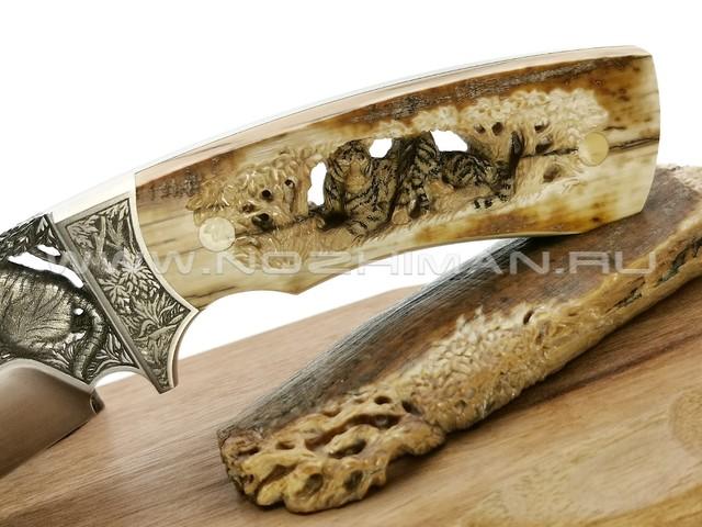 """Композиция """"Тигры"""" нож из стали N690 с гравировкой, рукоять бивень мамонта, титан (BASKo)"""