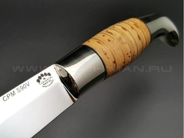 """Нож """"Финка Фронтовая"""" сталь S90V, рукоять наборная береста, мельхиор (Тов. Завьялова)"""