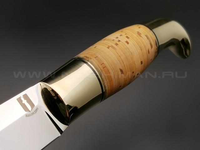 """Нож """"Финка Фронтовая"""" сталь 95Х18, рукоять наборная береста, латунь (Наследие)"""
