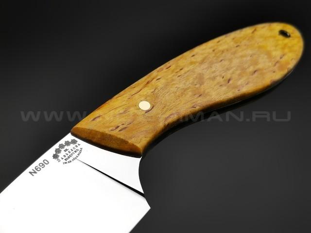 """Нож """"Боровик"""" сталь N690, рукоять карельская береза (Тов. Завьялова)"""