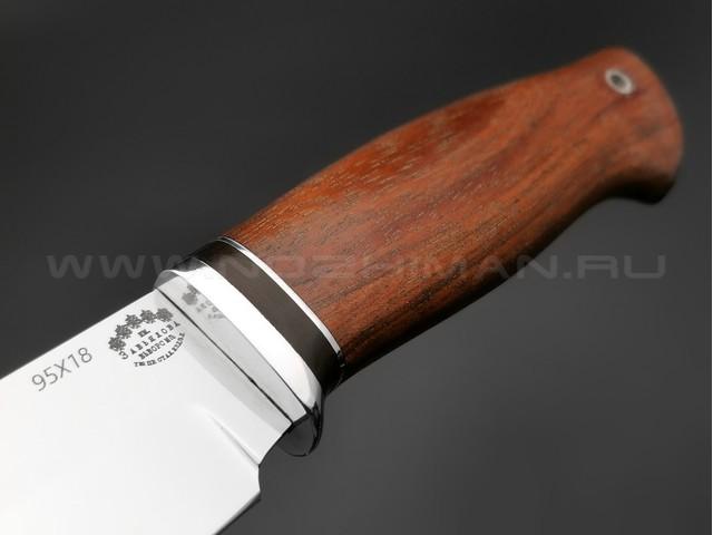 """Нож """"Курган"""" сталь 95Х18, рукоять дерево бубинга (Тов. Завьялова)"""