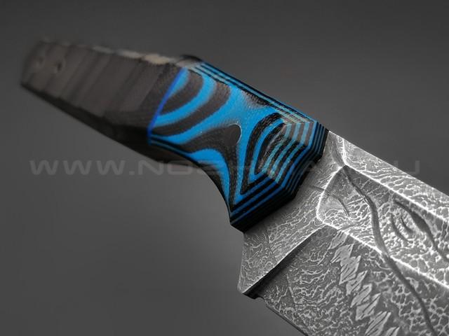 Волчий Век нож Wharn Custom Drago Edition сталь PGK WA, рукоять G10 black & blue