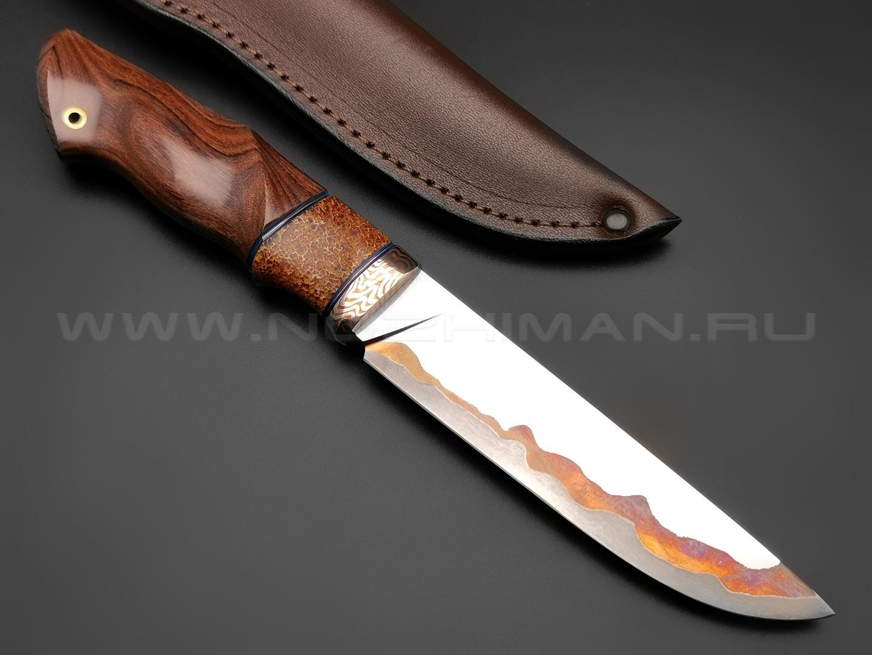 """Нож """"НЛВ33"""" ламинат Vanadis 8, рукоять палисандр, позвонок кита, мокумэ-гане (Кузница Васильева)"""
