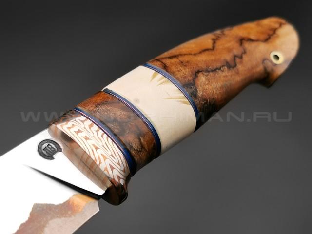"""Нож """"НЛВ35"""" ламинат K390, рукоять березовый шпальт, бивень мамонта, мокумэ-гане (Кузница Васильева)"""