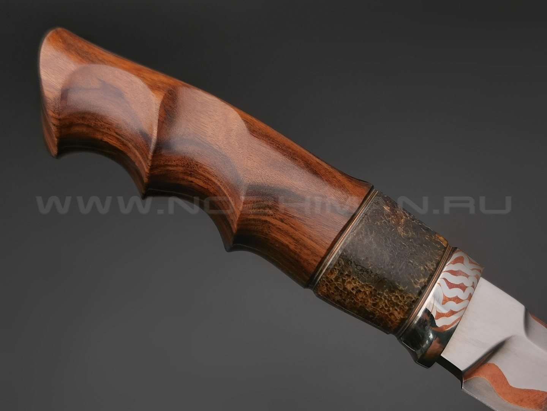 """Нож """"НЛВ36"""" ламинат Vanadis 8, рукоять палисандр, позвонок кита, мокумэ-гане (Кузница Васильева)"""