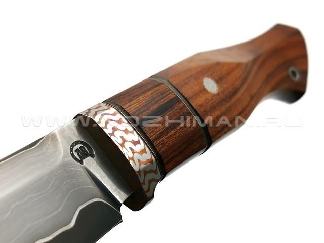 "Нож ""НЛВ30"" ламинат S390, рукоять палисандр, айронвуд, мокумэ-гане (Кузница Васильева)"