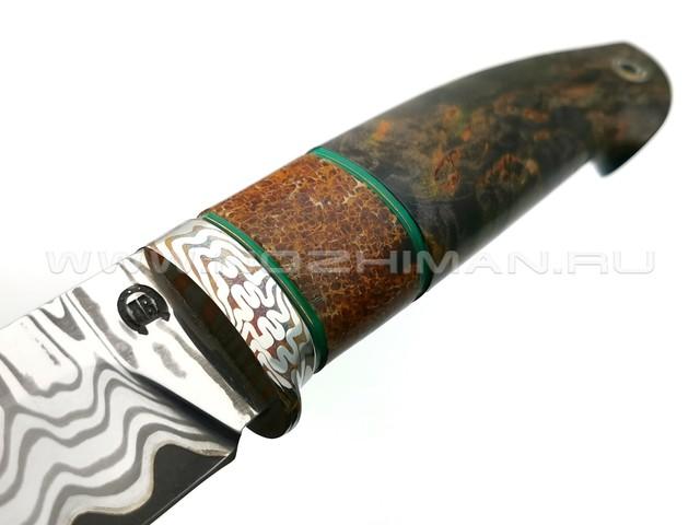"""Нож """"НЛВ29"""" ламинат S390, рукоять карельская береза, позвонок кита, мокумэ-гане (Кузница Васильева)"""