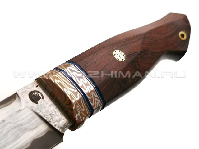 "Нож ""НЛВ34"" ламинат Vanadis 8, рукоять палисандр, мокумэ-гане (Кузница Васильева)"