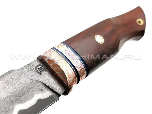 "Нож ""НЛВ37"" ламинат Vanadis 8, рукоять палисандр, мокумэ-гане (Кузница Васильева)"