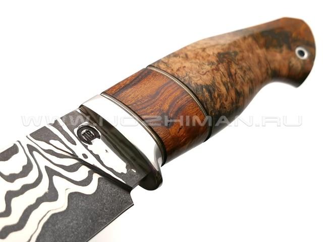 """Нож """"НЛВ38"""" ламинат K340, рукоять карельская береза, айронвуд (Кузница Васильева)"""