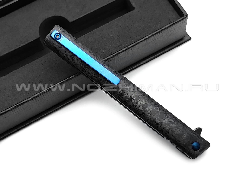 TuoTown нож BDJ-M390 сталь M390 blackwash, рукоять Chaotic Carbon fiber