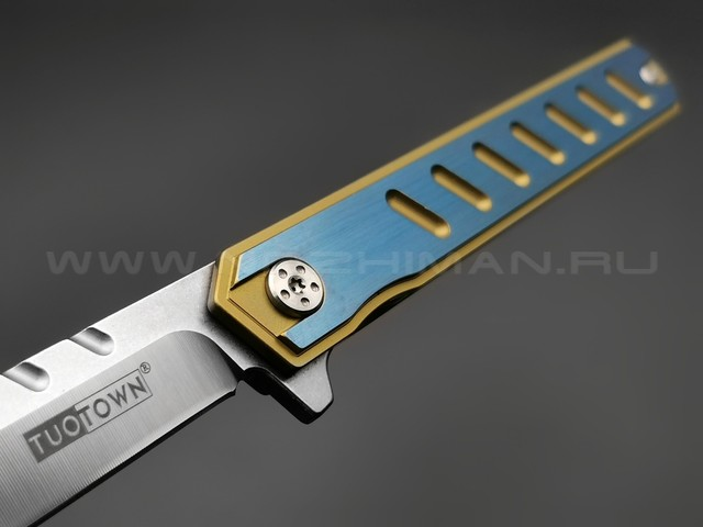 TuoTown нож 2DXW-BL blue сталь D2, рукоять Titanium
