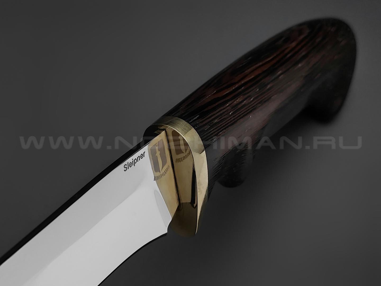 """Нож """"Судак"""" сталь Sleipner, рукоять дерево венге, латунь (Товарищество Завьялова)"""