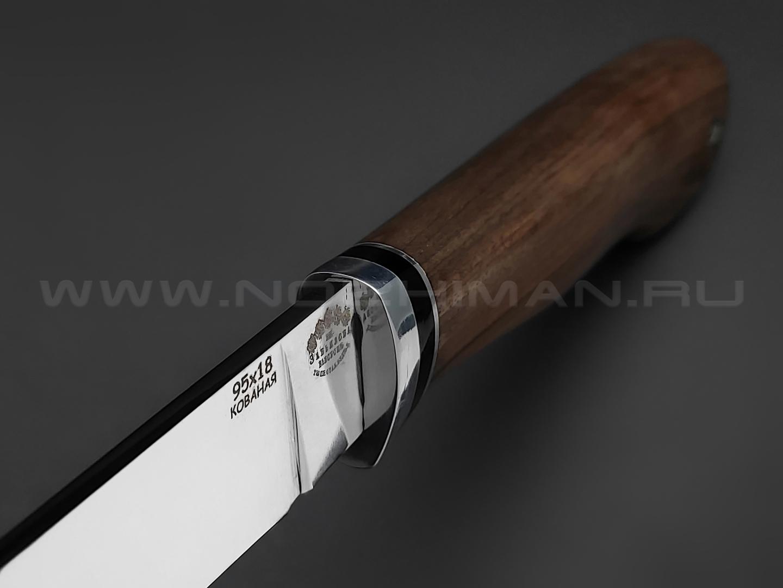 """Нож """"Цезарь"""" сталь 95Х18, рукоять дерево орех (Товарищество Завьялова)"""