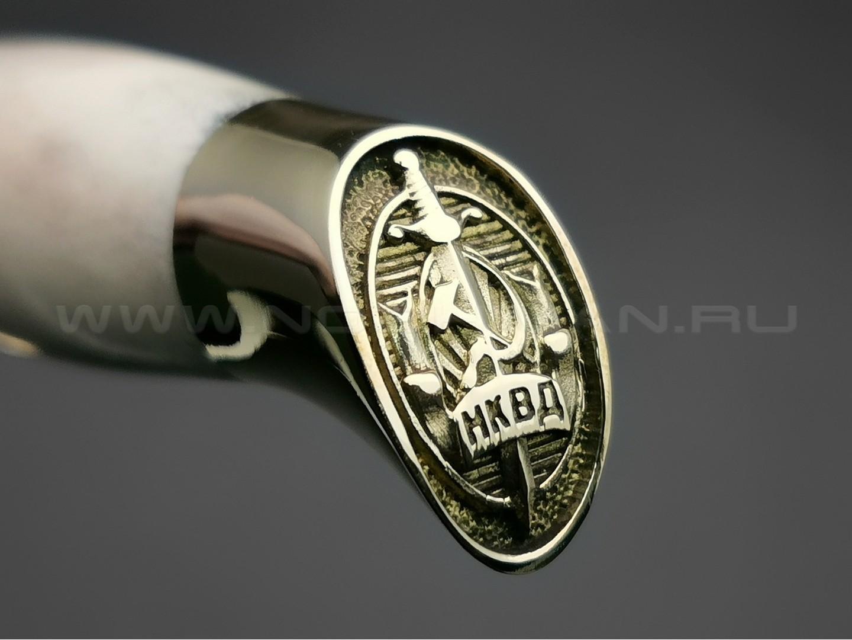 """Нож """"Финка НКВД"""" сталь K340, рукоять рог лося, латунь (Товарищество Завьялова)"""
