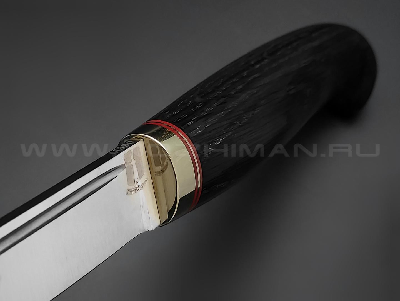"""Нож """"Финка"""" сталь M390, рукоять морёный дуб, латунь (Товарищество Завьялова)"""