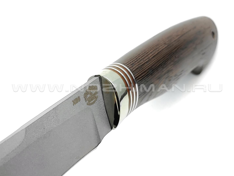 """Нож """"Альфа-Центавра"""" сталь ХВ5, рукоять дерево венге, мельхиор (Товарищество Завьялова)"""