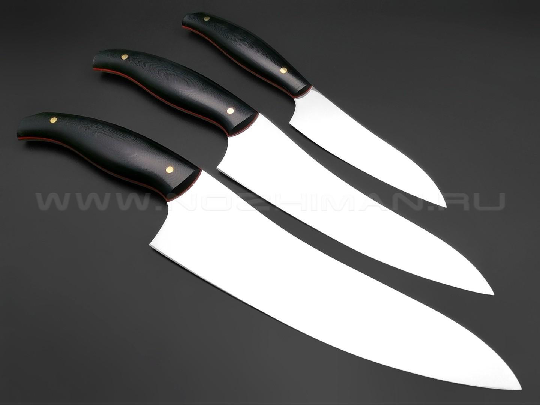 Набор из 3-х кухонных ножей, сталь N690, рукоять G10 black (Товарищество Завьялова)