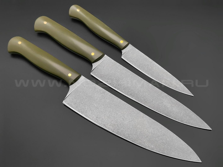 Набор из 3-х кухонных ножей, булатная сталь, рукоять G10 od green (Товарищество Завьялова)
