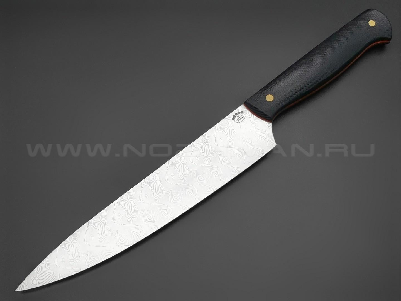 """Нож кухонный """"Шеф"""" средний, сталь нержавеющий дамаск, рукоять G10 black (Товарищество Завьялова)"""