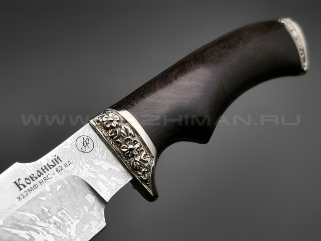"Нож ""Ирбис-М"" сталь Х12МФ, рукоять дерево граб, мельхиор (Фурсач А. А.)"