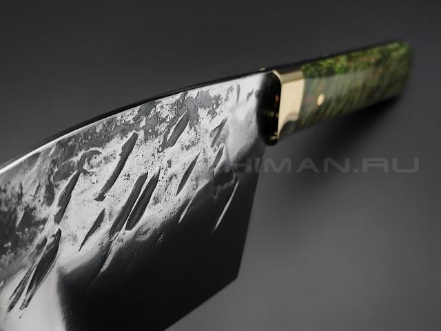 """Нож """"Сербский Шеф"""" сталь K340, рукоять карельская береза, латунь (Товарищество Завьялова)"""
