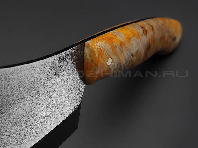 "Нож ""Биг Фуд"" сталь K340, рукоять берёзовый кап (Товарищество Завьялова)"