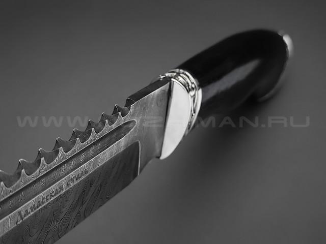 """Нож """"Волк"""" дамасская сталь, рукоять дерево граб, мельхиор (Фурсач А. А.)"""