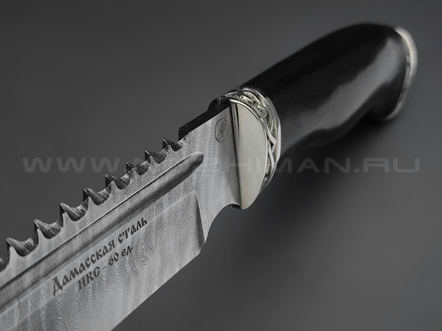 """Нож """"Рэкс"""" дамасская сталь, рукоять дерево граб, мельхиор (Фурсач А. А.)"""
