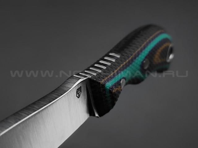 РВС нож Двояк сталь N690, рукоять микарта black & green