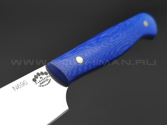 Кухонный нож Овощной №1, сталь N690, рукоять G10 blue (Товарищество Завьялова)