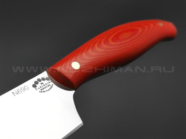 Кухонный нож Овощной №2, сталь N690, рукоять G10 red & orange (Товарищество Завьялова)