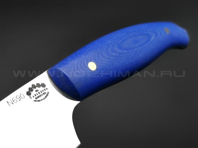 Большой филейный нож №2, сталь N690, рукоять G10 blue (Товарищество Завьялова)