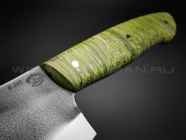 "Нож ""Биг Фуд"" сталь K340, рукоять кап клёна зелёный (Товарищество Завьялова)"